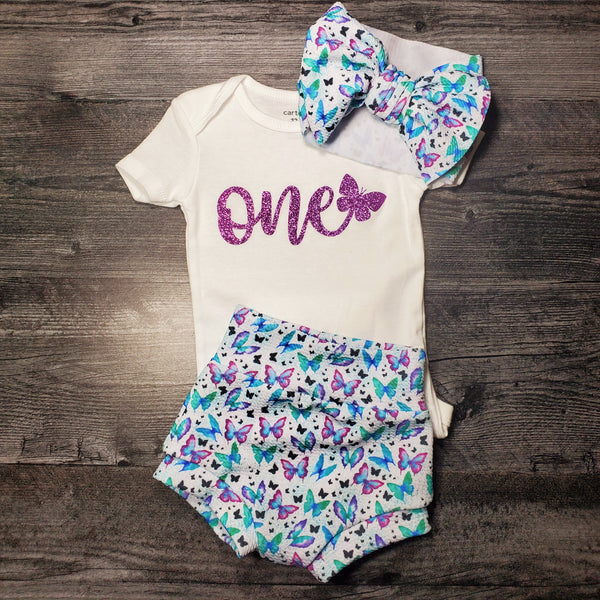 "1 year old outfit - Butterfly ""One"" Outfit"
