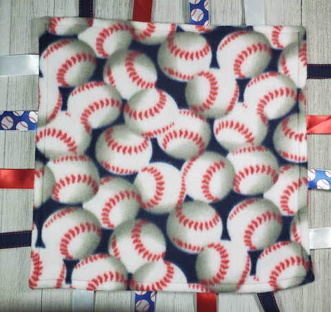 Baseball Lovey Tag Blanket