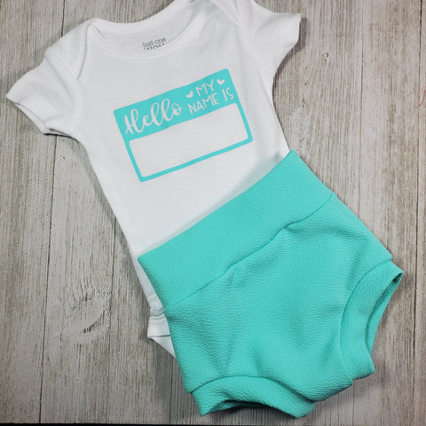 "Newborn outfit - ""Hello My Name is"" Outfit"