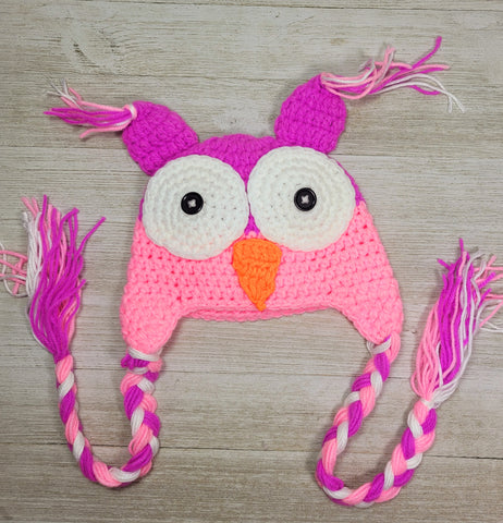 Owl Infant Hat - Pink/Purple 3 to 6m