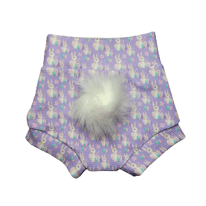 Purple Rabbit Easter Bummie with optional Rabbit Tail(Pom)