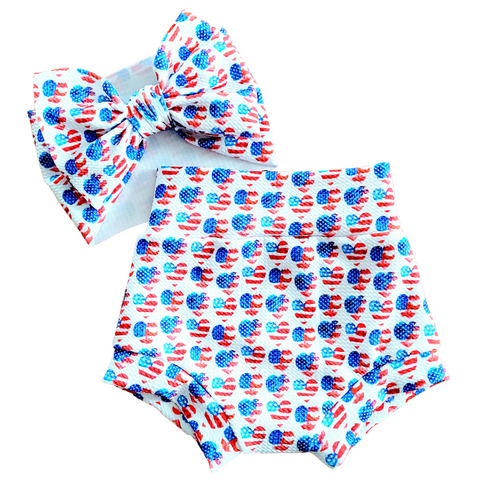 Patriotic Heart Fabric - Bow, Bummie or Bummie Skirt