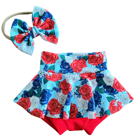 Red White Blue Floral  - Bow, Bummie or Bummie Skirt