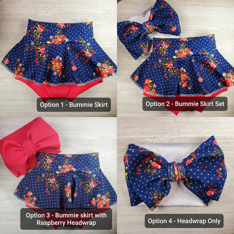 Navy Blue Polka Dot with Roses Bummie skirt