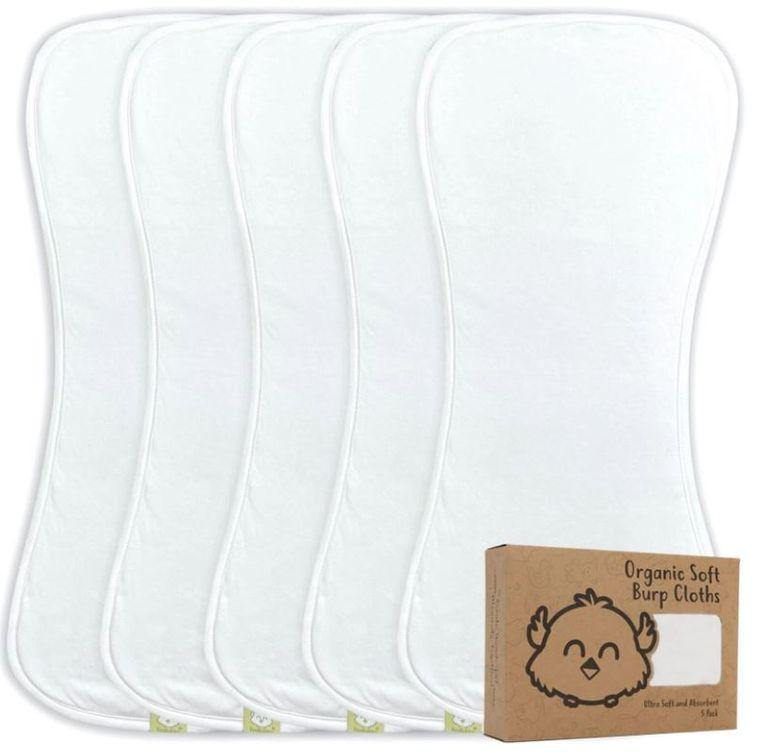 Baby Burp Cloths (Soft White) - LilChic BabyBug Boutique LLC