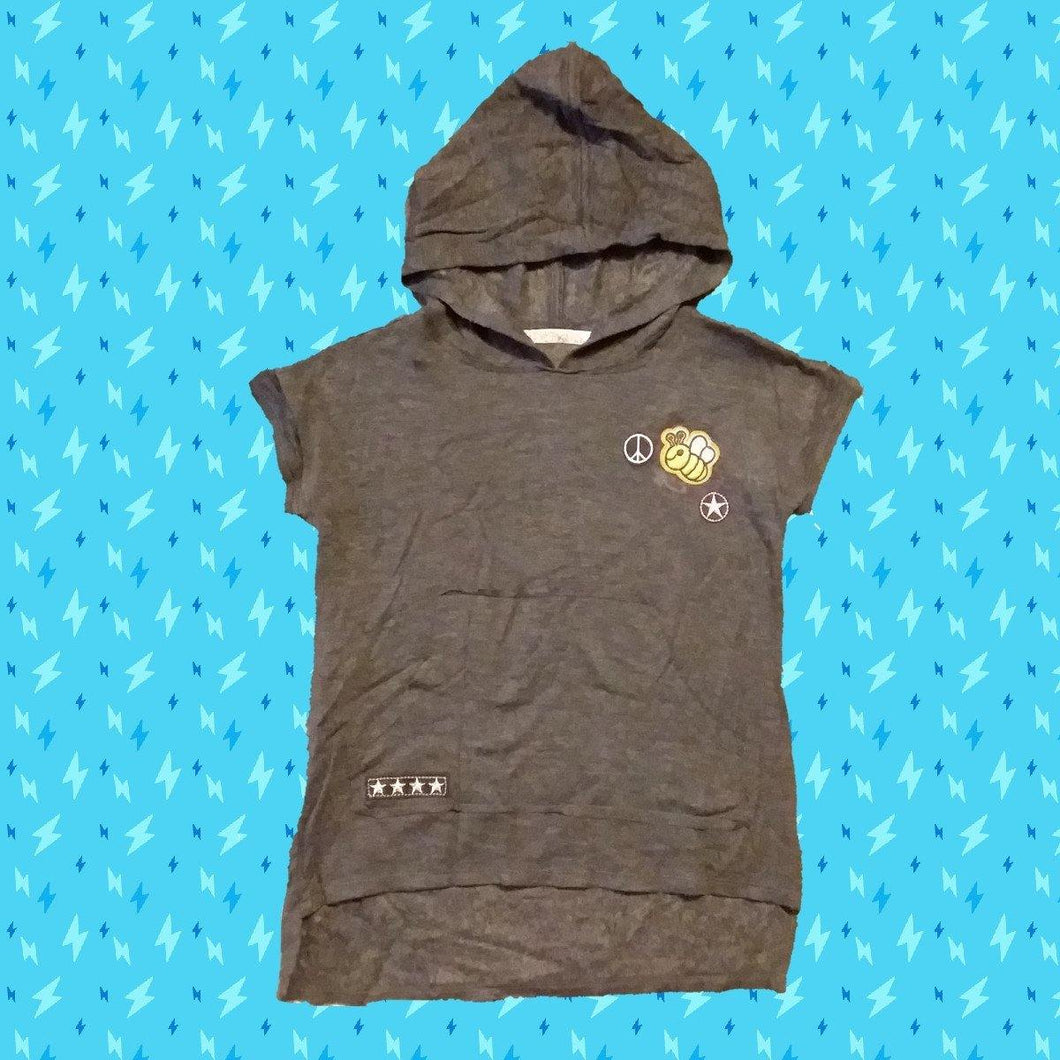 Bee/Charcoal Hooded Top - LilChic BabyBug Boutique