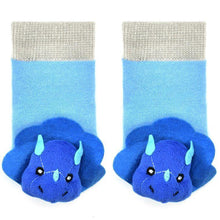 Load image into Gallery viewer, Blue Tricera Boogie Toes Rattle Socks - LilChic BabyBug Boutique LLC