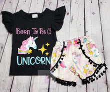 Load image into Gallery viewer, Born To Be A Unicorn Short Set - LilChic BabyBug Boutique LLC