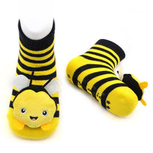 Load image into Gallery viewer, Bumblebee Boogie Toes Rattle Socks - LilChic BabyBug Boutique LLC