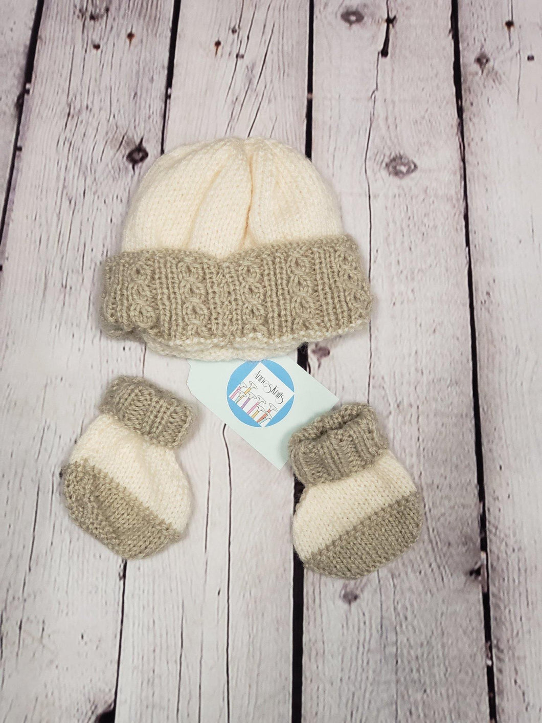 Cream & Brown Hat with Bootees - LilChic BabyBug Boutique LLC