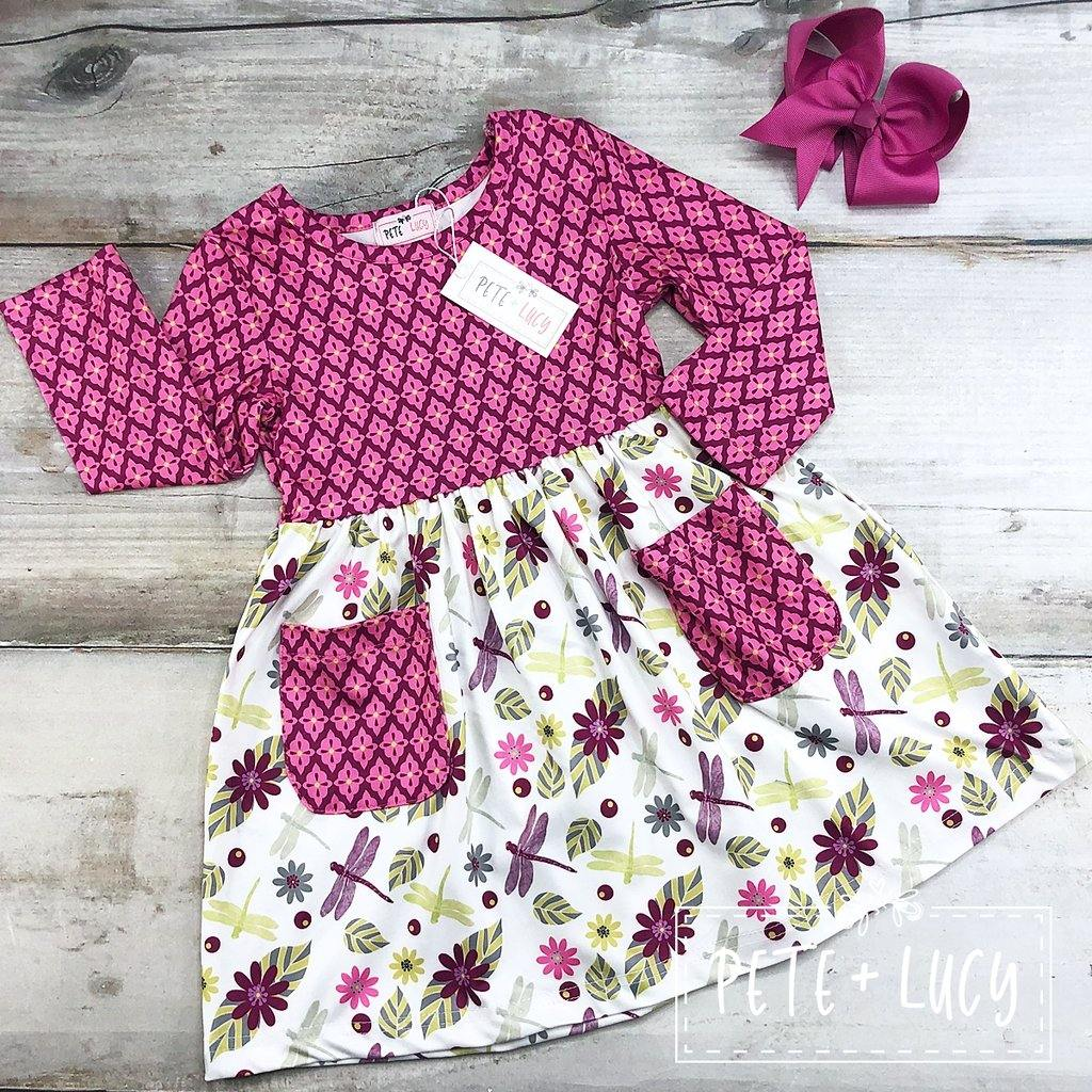 Dragonfly Floral Dress - LilChic BabyBug Boutique LLC