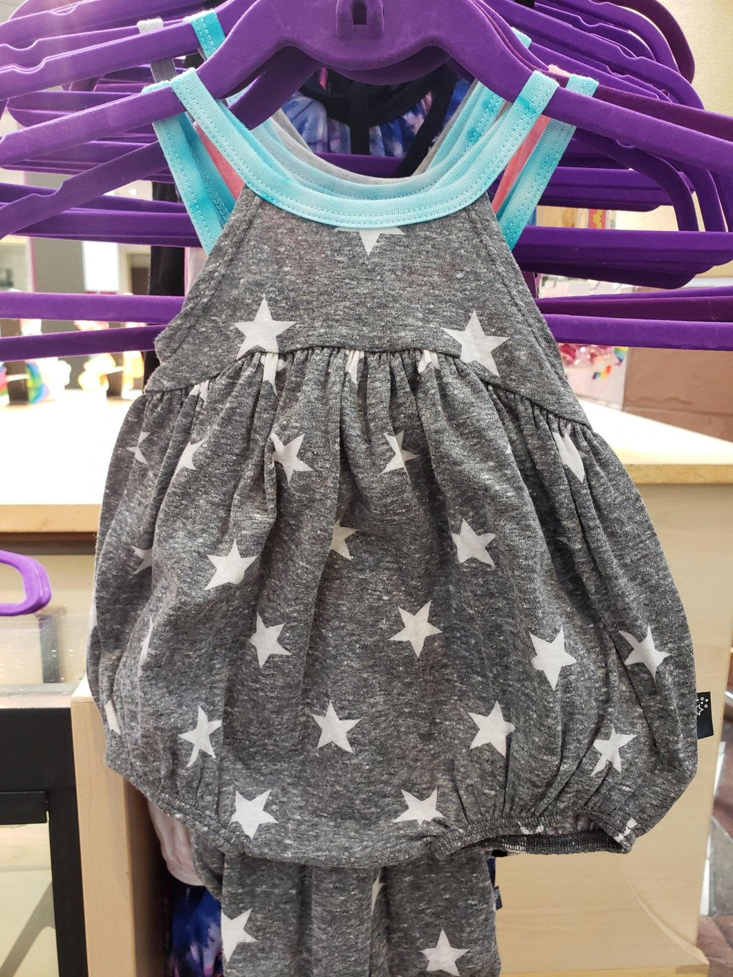 Gray/white Stars Bubble Romper - LilChic BabyBug Boutique