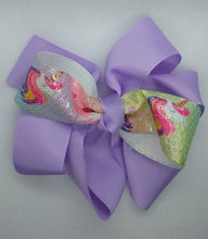 Load image into Gallery viewer, Jumbo Unicorn Sequins Bow - LilChic BabyBug Boutique