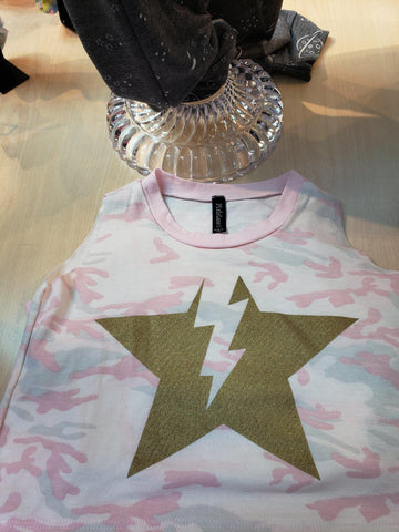 Light Pink Camo Muscle Tank - LilChic BabyBug Boutique