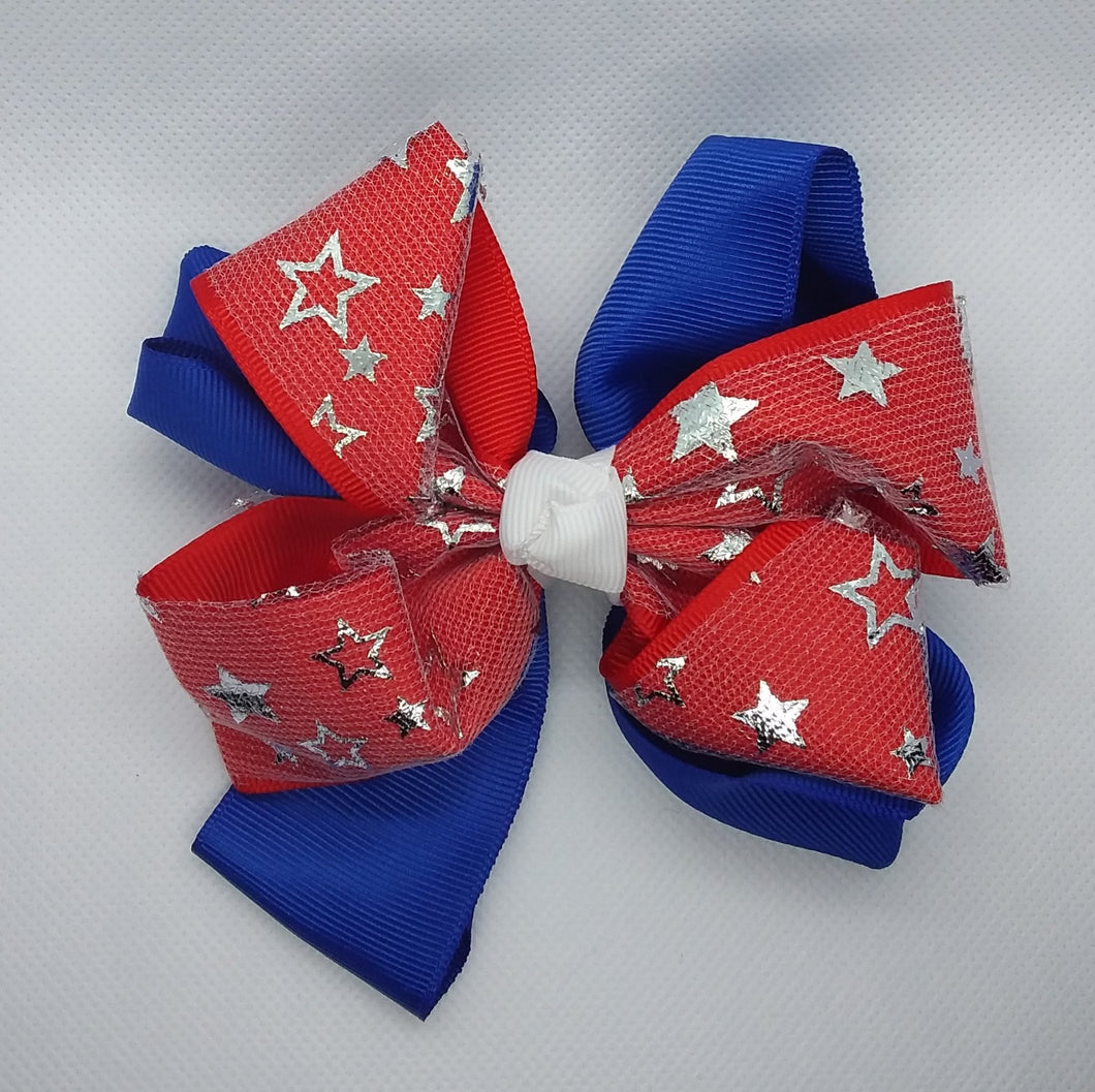 Metallic Silver Stars Bows - LilChic BabyBug Boutique