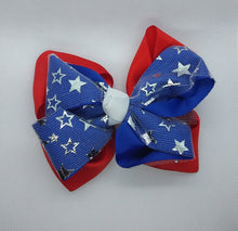 Load image into Gallery viewer, Metallic Silver Stars Bows - LilChic BabyBug Boutique