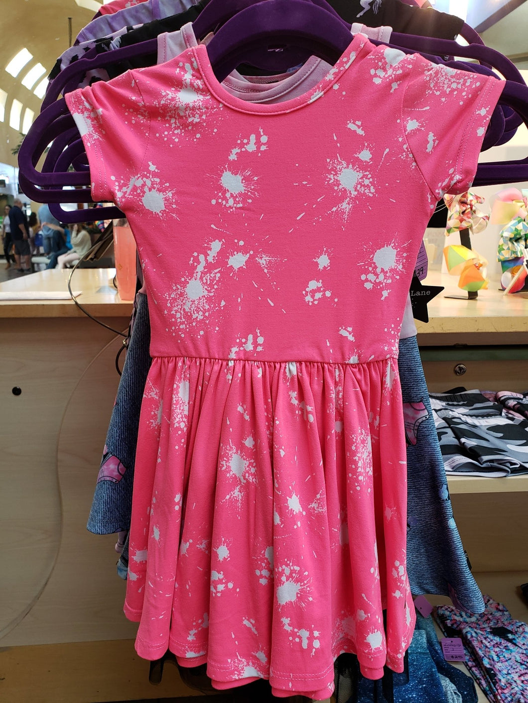 Neon Pink Splatter Dress - LilChic BabyBug Boutique