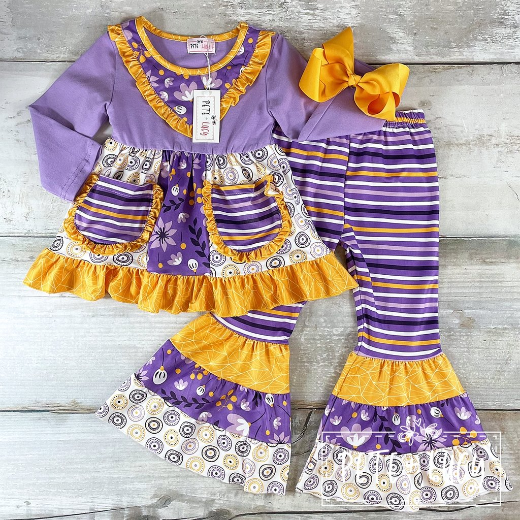 Purple Geo Pant Set - LilChic BabyBug Boutique LLC