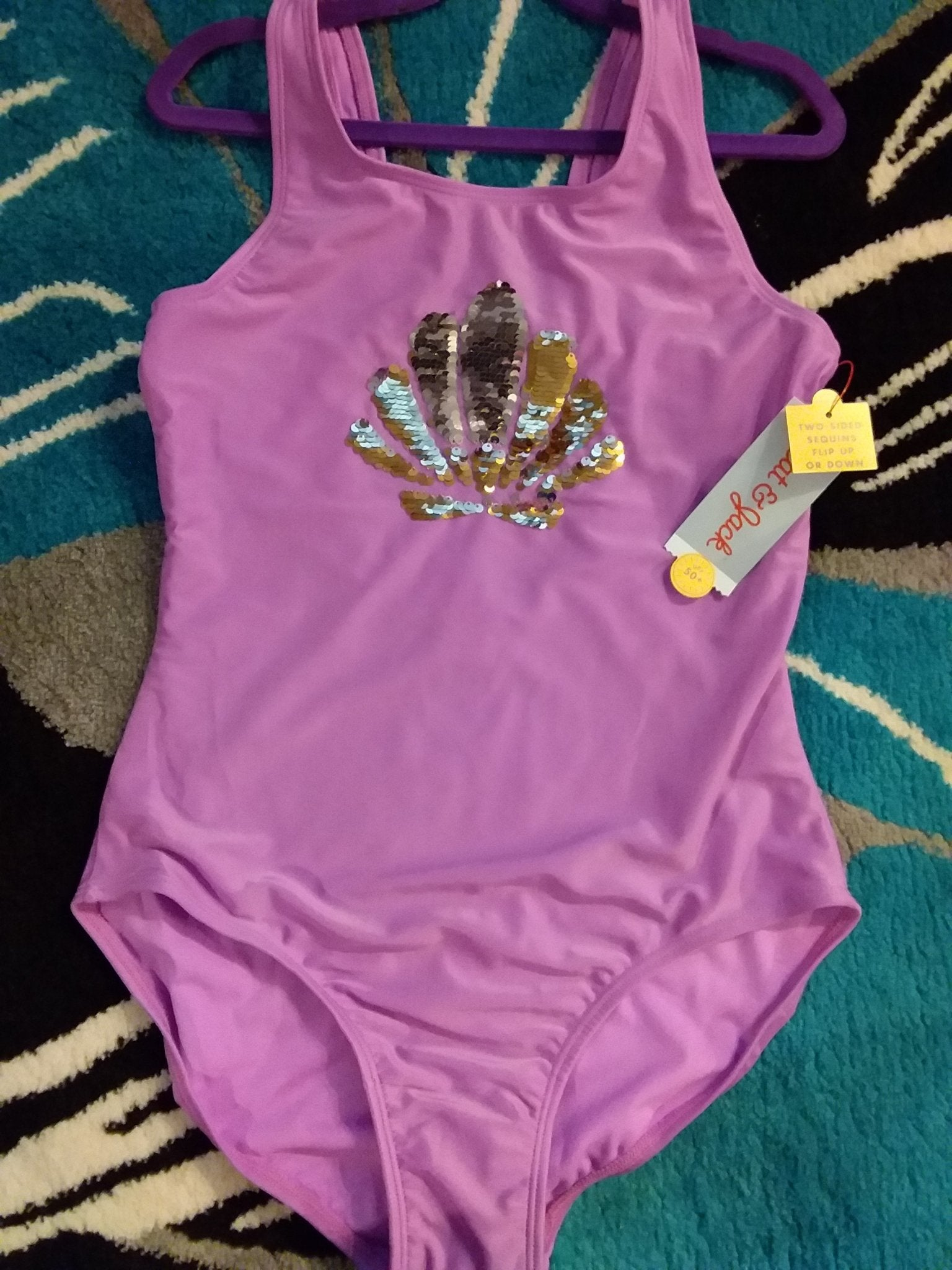 Purple Sea Shell Swimsuit - LilChic BabyBug Boutique
