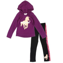 Load image into Gallery viewer, Purple Toddler Girl Hoodie & Legging Set - LilChic BabyBug Boutique