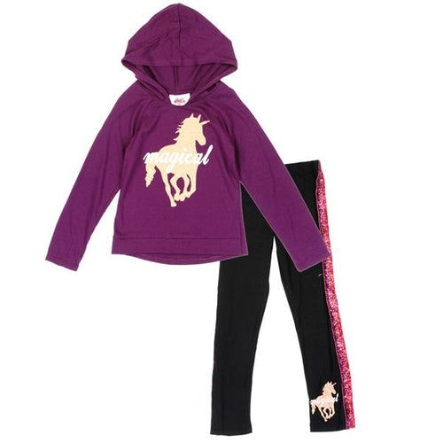 Purple Toddler Girl Hoodie & Legging Set - LilChic BabyBug Boutique