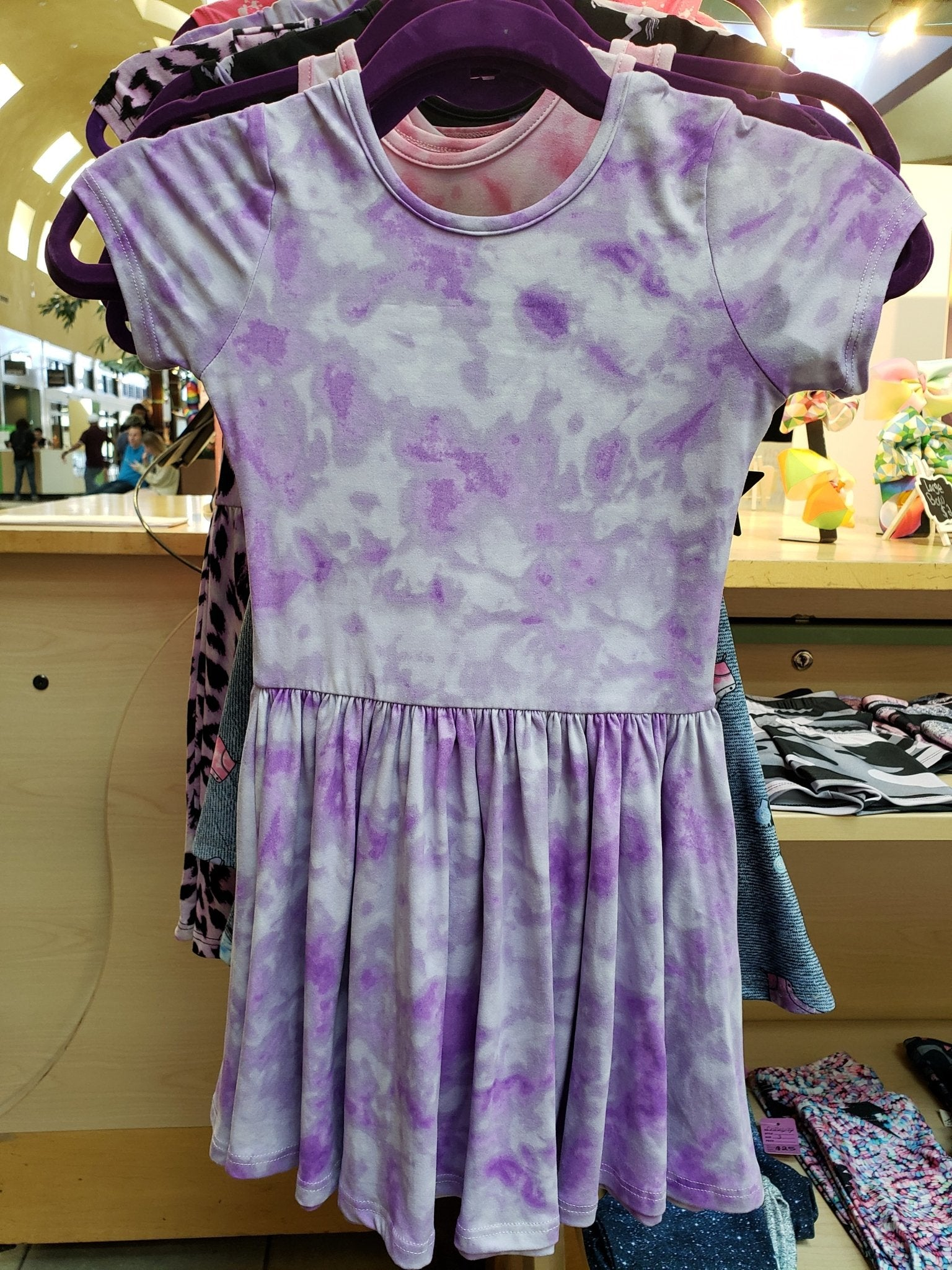 Purple/White Tie Dye Dress - LilChic BabyBug Boutique
