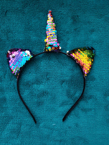 Unicorn Sequin Head Band - LilChic BabyBug Boutique