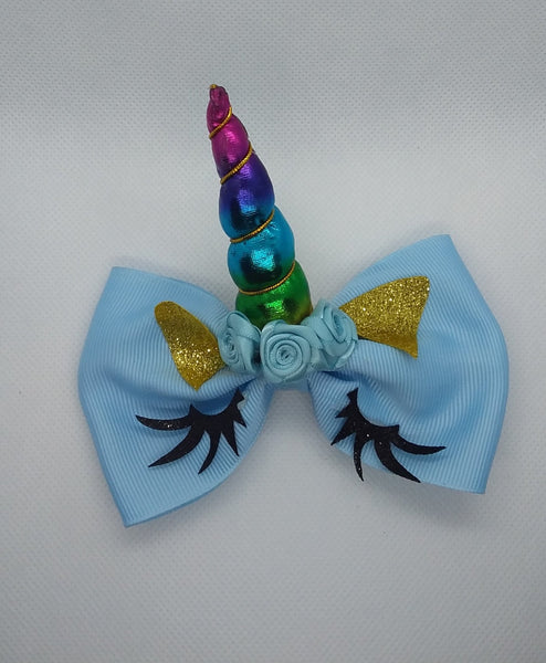 Unicorn w/Horn Bow - LilChic BabyBug Boutique