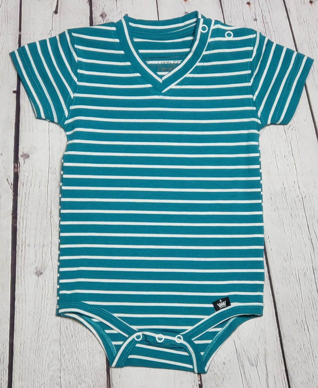 V-neck Pin Striped Bodysuite - LilChic BabyBug Boutique LLC