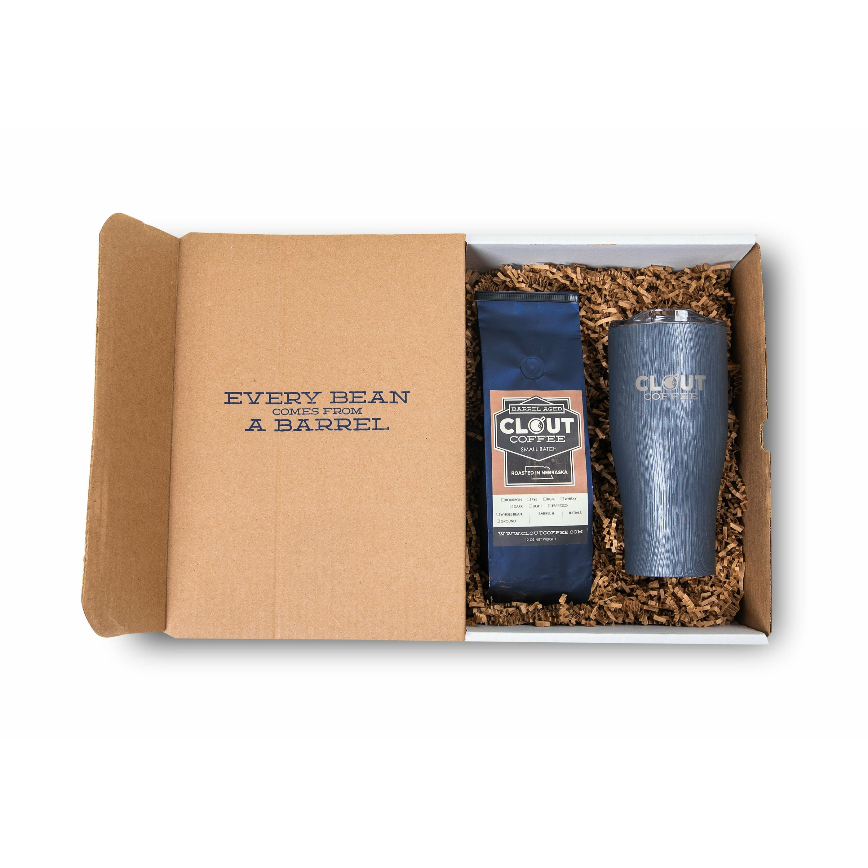 Bourbon Barrel Aged Coffee Gift Box, 12 oz Dark Roast Ground Coffee, 27 oz Engraved Rustic Gray Tumbler with Clear Push Lid