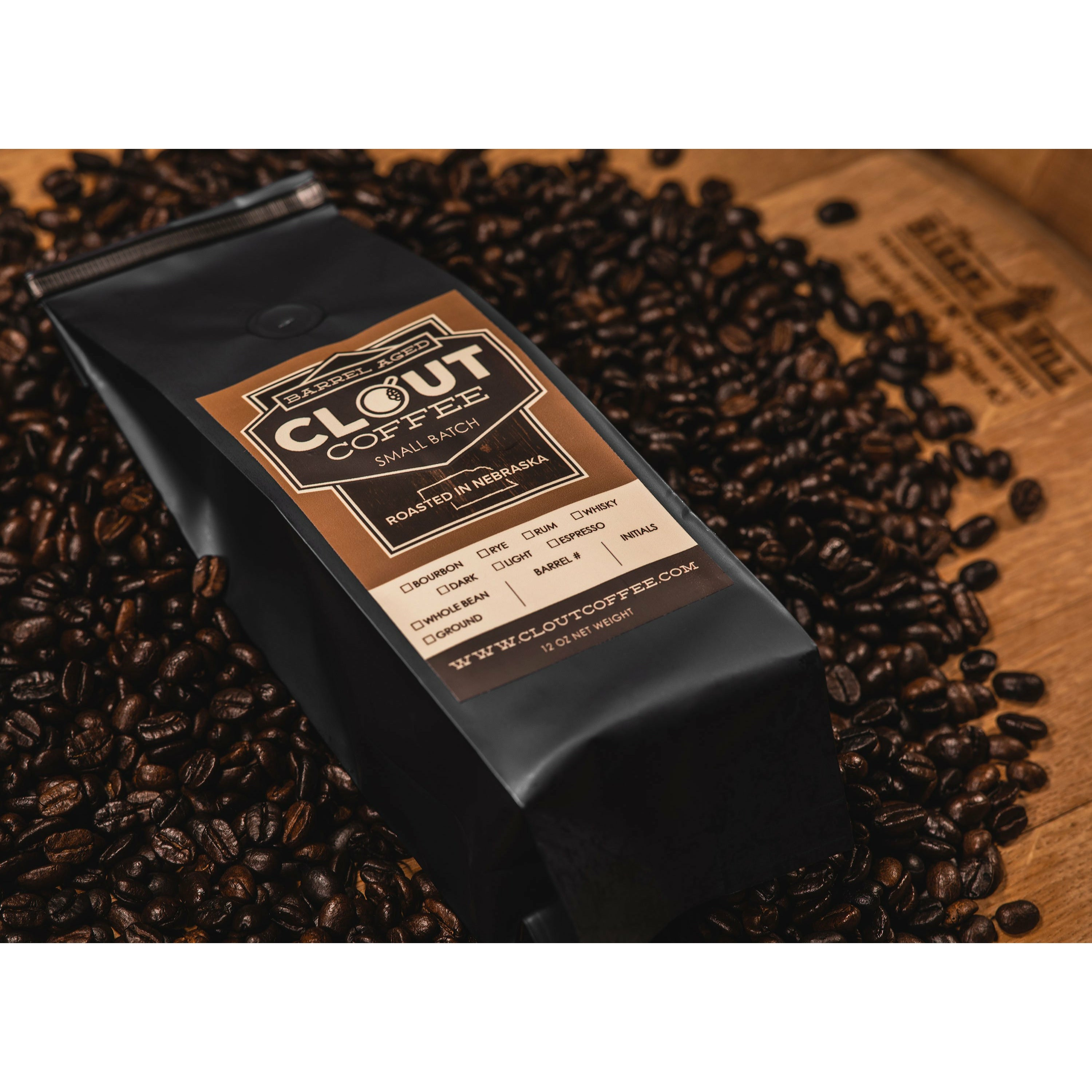 Clout Crate, Bourbon Barrel Aged Coffee Gift Box, 12 Ounce Dark Roast Ground Coffee, 13 Ounce Navy Ceramic Campfire Coffee Mug with Clout Coffee Logo