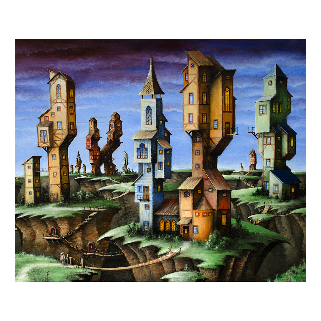 "<p>Quake Village, 24x18"" Oil Painting by Justin D. Miller<br></p> <p>Ready to hang with wire. Frameless; edges are 3/4"" finished painted black. Painting is on masonite wood panel with semi-gloss finish. Sticker on back with name, size, and my information.</p>"