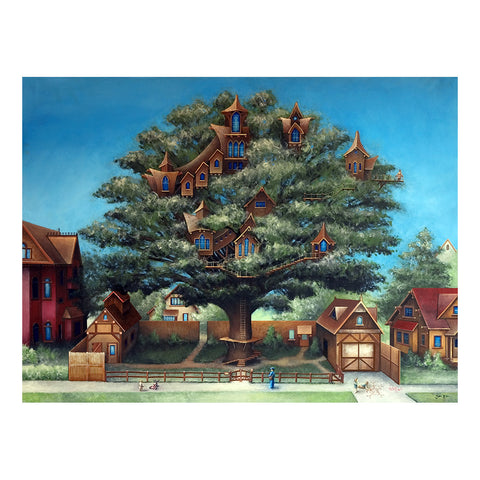 "Neighborhood Treehouse, 24x18"" Oil Painting"