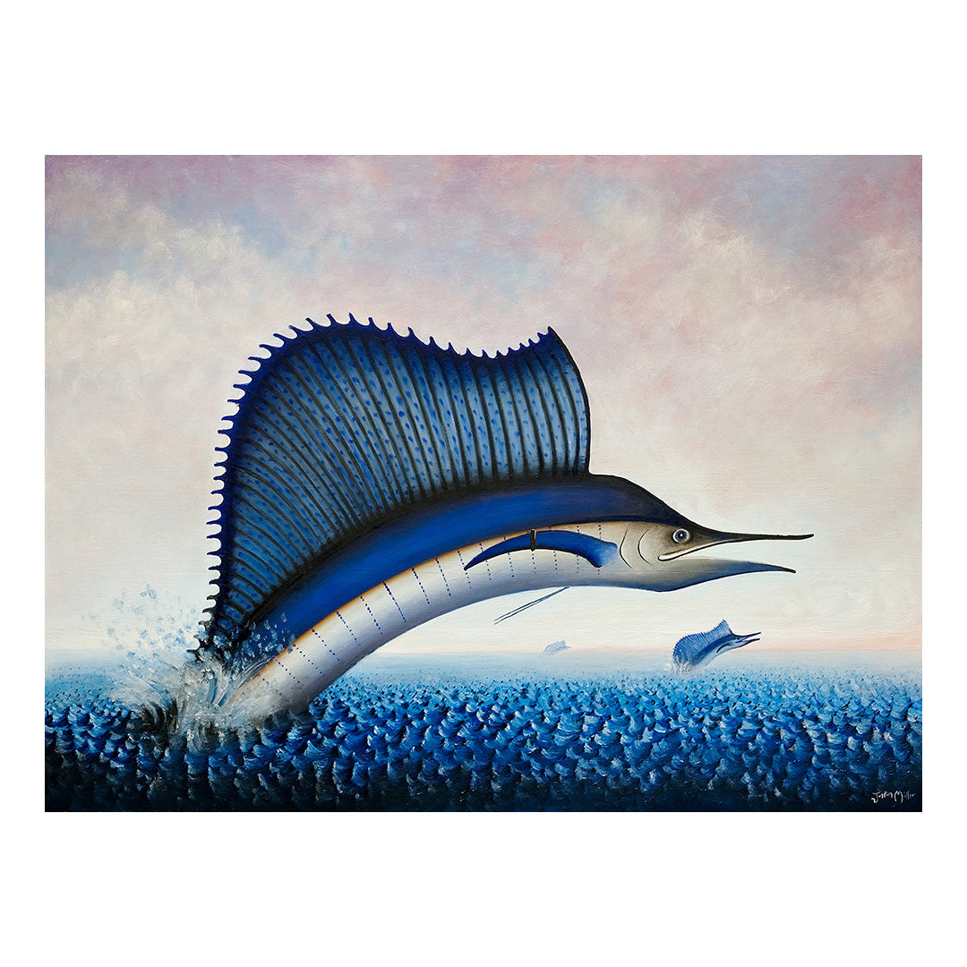 "<p>Sailfish, 24x18"" Oil Painting by Justin D Miller<br></p> <p>Ready to hang with wire. Frameless; edges are 3/4"" finished painted black. Painting is on masonite wood panel with semi-gloss finish. Backside photos available on request. Artist information attached to backside.</p>"