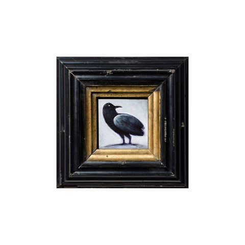 "<p>Tiny Crow, 2x2"" Acrylic Painting by Justin D Miller. Comes with frame as shown, ready to hang with wire. All acrylic paintings are on masonite wood panel and have a semi-gloss finish. Size listed is of the painting size, not including frame. For fully framed size, please contact me.  Sticker on back with name, size, and my information.</p>"