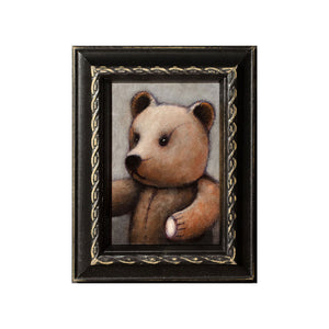 "<p>Teddy, 5x3"", Acrylic Painting by Justin D Miller. Comes with frame as shown, ready to hang with wire. All acrylic paintings are on masonite wood panel and have a semi-gloss finish. Size listed is of the painting size, not including frame. For fully framed size, please contact me.  Sticker on back with name, size, and my information.</p>"