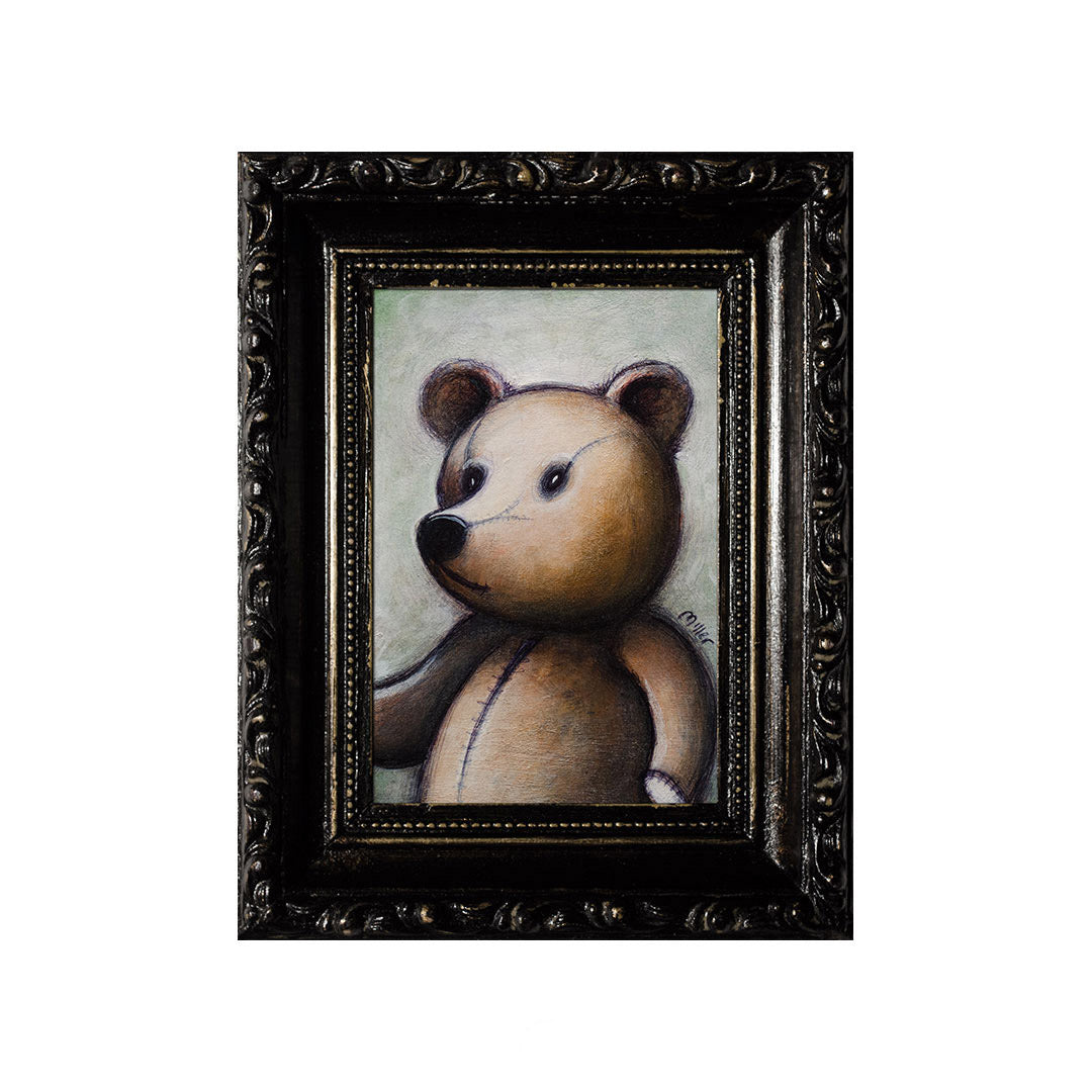 "<p>Teddy 2, 5x3"", Acrylic Painting by Justin D Miller. Comes with frame as shown, ready to hang with wire. All acrylic paintings are on masonite wood panel and have a semi-gloss finish. Size listed is of the painting size, not including frame. For fully framed size, please contact me.  Sticker on back with name, size, and my information.</p>"