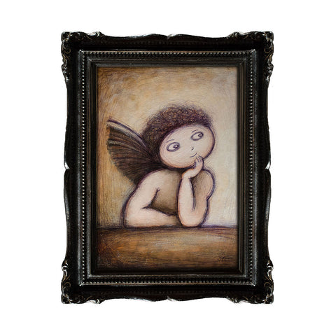 "<p>Cherub, 5x7"" Acrylic Painting by Justin D Miller. Comes with frame as shown, ready to hang with wire. All acrylic paintings are on masonite wood panel and have a semi-gloss finish. Size listed is of the painting size, not including frame. For fully framed size, please contact me.  Sticker on back with name, size, and my information.</p>"