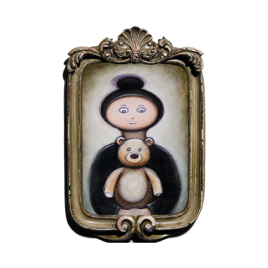 "<p>Girl with Teddy, 5x7"" Acrylic Painting by Justin D Miller. Comes with frame as shown, ready to hang with wire. All acrylic paintings are on masonite wood panel and have a semi-gloss finish. Size listed is of the painting size, not including frame. For fully framed size, please contact me.  Sticker on back with name, size, and my information.</p>"