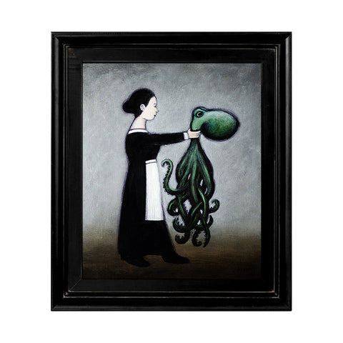 "<p>Woman Holding Octopus, 7x6"" Acrylic Painting by Justin D Miller. Comes with frame as shown, ready to hang with wire. All acrylic paintings are on masonite wood panel and have a semi-gloss finish. Size listed is of the painting size, not including frame. For fully framed size, please contact me.  Sticker on back with name, size, and my information.</p>"