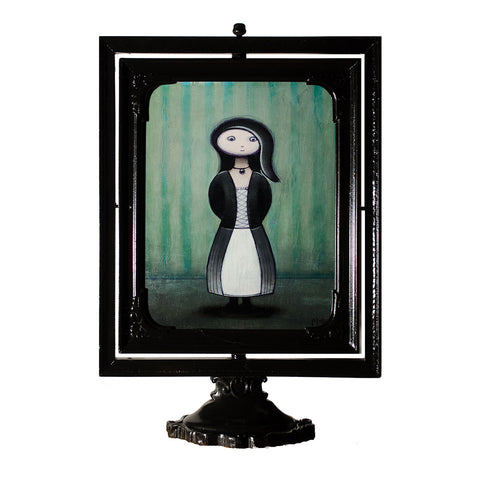 "<p>Standing Girl with Black &amp; White Dress, 7x9"" Acrylic Painting, 7x9"" Acrylic Painting by Justin D Miller. Comes with frame as shown, pedestal sits on surface. All acrylic paintings are on masonite wood panel and have a semi-gloss finish. Size listed is of the painting size, not including frame. For fully framed size, please contact me.  Sticker on back with name, size, and my information.</p>"