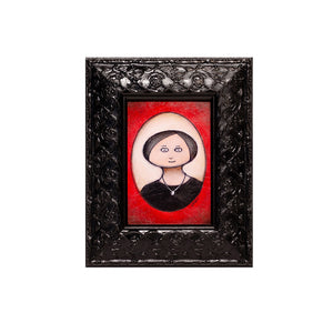 "<p>Portrait in Red Oval (2018), 3x5"" Acrylic Painting by Justin D Miller. Comes with frame as shown, ready to hang with wire. All acrylic paintings are on masonite wood panel and have a semi-gloss finish. Size listed is of the painting size, not including frame. For fully framed size, please contact me.  Sticker on back with name, size, and my information.</p>"