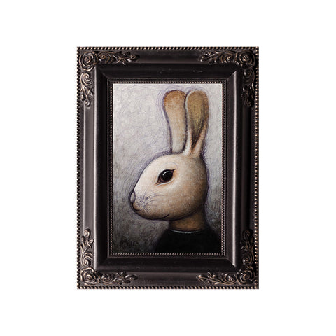 "<p>Brown Rabbit, 4x6"" Acrylic Painting by Justin D Miller. Comes with frame as shown, ready to hang with wire. All acrylic paintings are on masonite wood panel and have a semi-gloss finish. Size listed is of the painting size, not including frame. For fully framed size, please contact me.  Sticker on back with name, size, and my information.</p>"