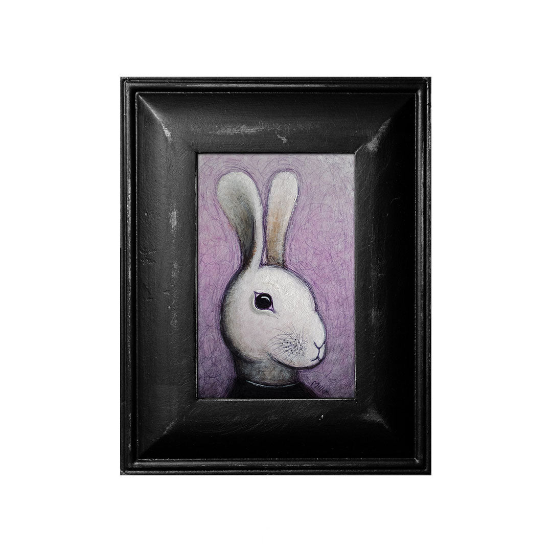 "White Rabbit, 4x6"" Acrylic Painting"