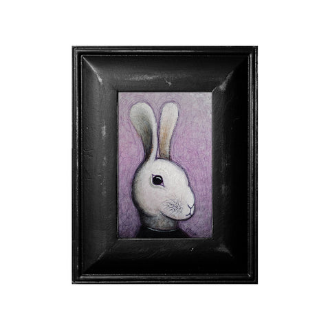 "<p>White Rabbit, 4x6"" Acrylic Painting by Justin D Miller. Comes with frame as shown, ready to hang with wire. All acrylic paintings are on masonite wood panel and have a semi-gloss finish. Size listed is of the painting size, not including frame. For fully framed size, please contact me.  Sticker on back with name, size, and my information.</p>"