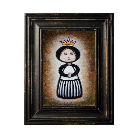 "<p>Girl with Crown #5, 5x7"" Acrylic Painting by Justin D Miller. Comes with frame as shown, ready to hang with wire. All acrylic paintings are on masonite wood panel and have a semi-gloss finish. Size listed is of the painting size, not including frame. For fully framed size, please contact me.  Sticker on back with name, size, and my information.</p>"