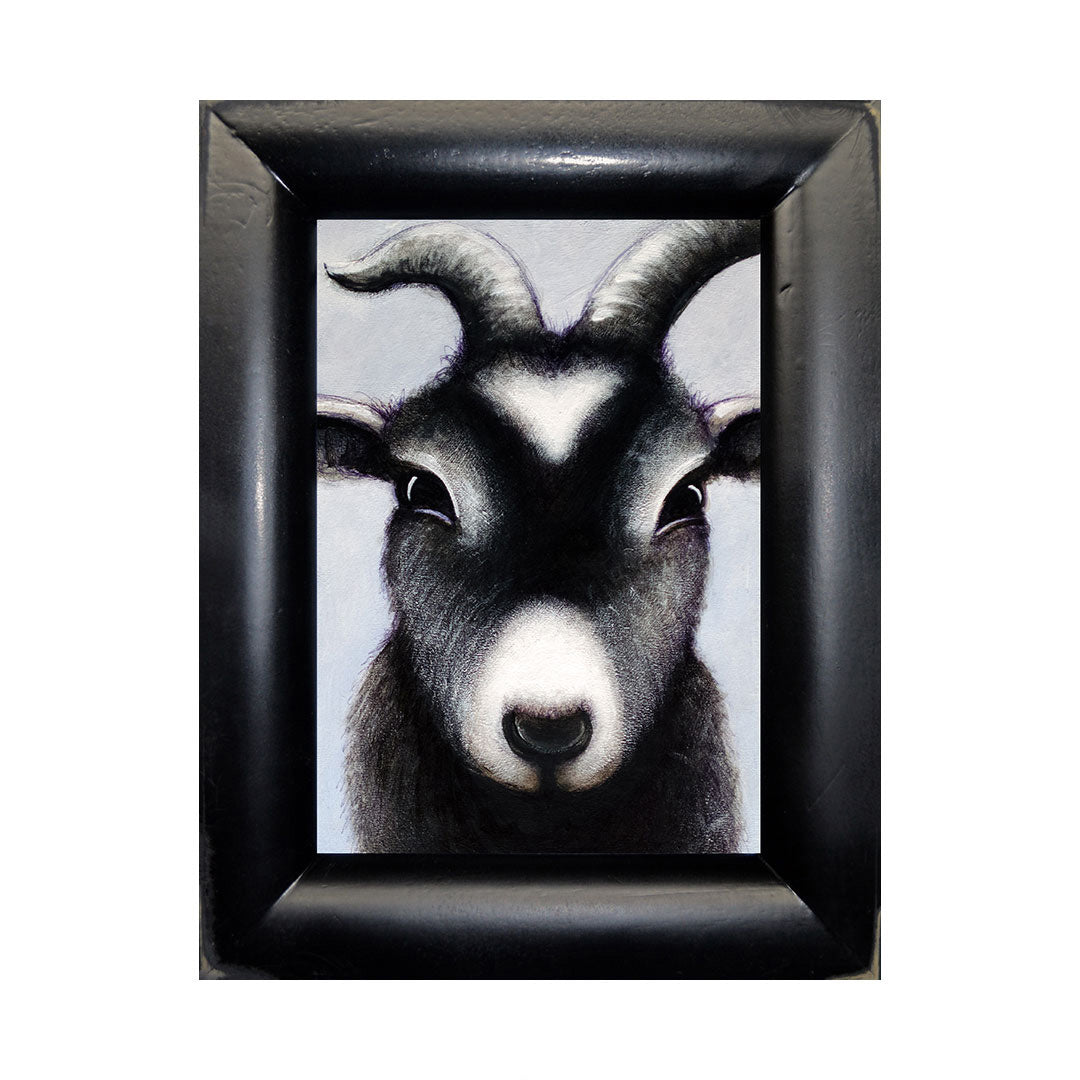 "<p>Goat Portrait, 5x7"" Acrylic Painting by Justin D Miller. Comes with frame as shown, ready to hang with wire. All acrylic paintings are on masonite wood panel and have a semi-gloss finish. Size listed is of the painting size, not including frame. For fully framed size, please contact me.  Sticker on back with name, size, and my information.</p>"