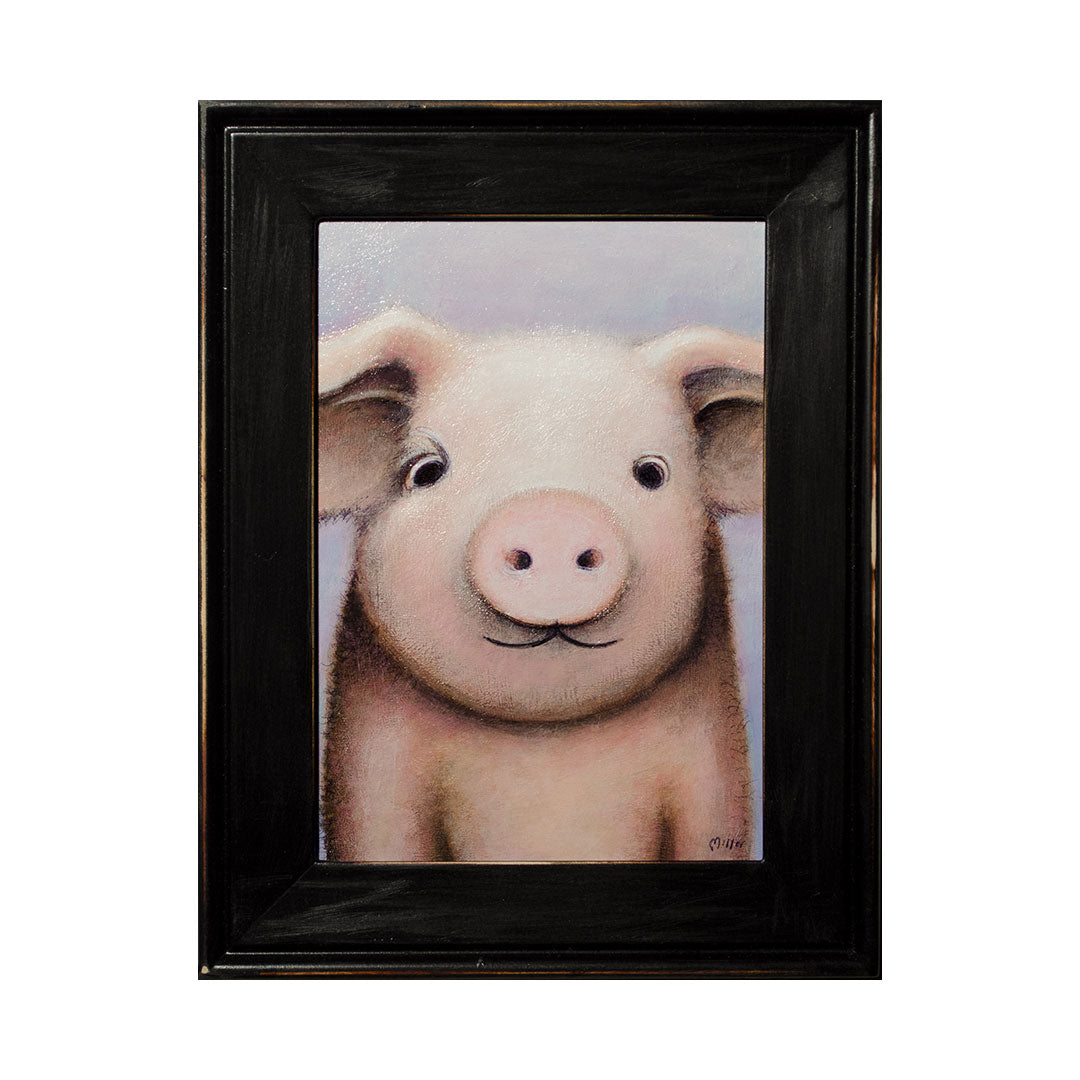"<p>Pig Portrait, 5x7"" Acrylic Painting by Justin D Miller. Comes with frame as shown, ready to hang with wire. All acrylic paintings are on masonite wood panel and have a semi-gloss finish. Size listed is of the painting size, not including frame. For fully framed size, please contact me.  Sticker on back with name, size, and my information.</p>"