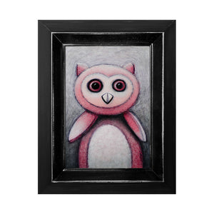 "<p>Pinkie the Owl, 5x7"" Acrylic Painting by Justin D Miller. Comes with frame as shown, ready to hang with wire. All acrylic paintings are on masonite wood panel and have a semi-gloss finish. Size listed is of the painting size, not including frame. For fully framed size, please contact me.  Sticker on back with name, size, and my information.</p>"