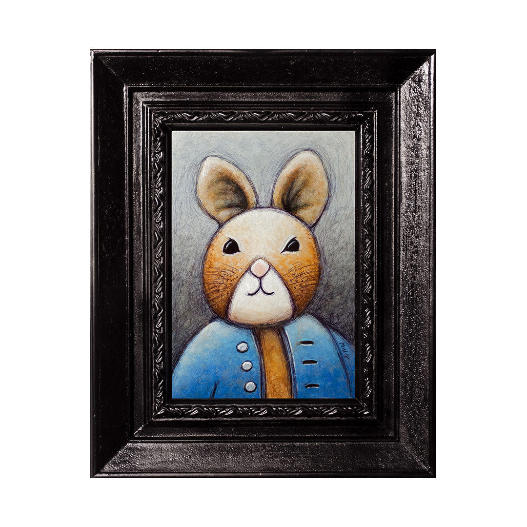 "Rabbit in Blue Shirt, 5x7"" Acrylic Painting"
